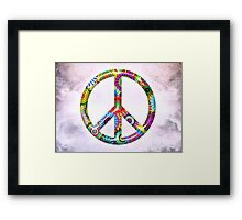 Cool Retro Flowers Peace Sign - T-Shirt and Stickers Framed Print