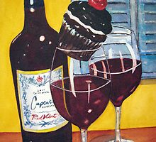 Cupcake wine and a Cupcake by Loretta Barra