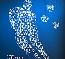 Hockey Christmas Card - Blue Snowflakes by SaucyMitts