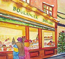 Paris Bakery at Christmas by Loretta Barra