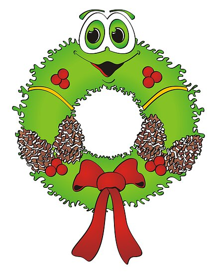 Cartoon Christmas Wreath by Graphxpro