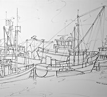 Lakes Entrance, Victoria. Australia 1996Ⓒ Pen and ink. Framed, 68x50cm  by Elizabeth Moore Golding