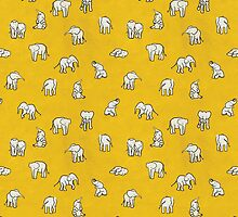 Indian Baby Elephants Yellow by estellef