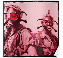 Hot Pink Soldier Girls in Respirators Poster