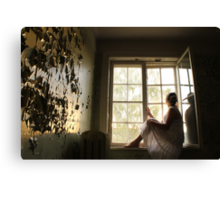 In the abandoned asylum. Sunset. Canvas Print