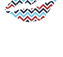 Red White And Blue Zig Zags Lips by kwg2200