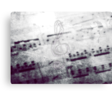 Music! Treble clef with Grunge Vintage Texture - DJ Retro Music Art Prints - iPhone and iPad Cases Canvas Print