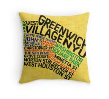 Typographic Greenwich Village Map, NYC Throw Pillow