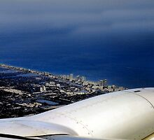 Watercolor - Flying Over Miami by Al Bourassa