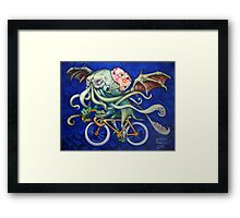 Cthulhu On A Bicycle Framed Print