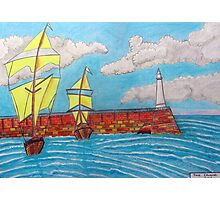 392 - TYNEMOUTH PIER - DAVE EDWARDS - COLOURED PENCILS - 2013 Photographic Print
