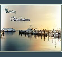 Christmas Greeting Card - Boats At Sunrise In Harbor by MotherNature