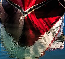 Red boat reflected by Celeste Mookherjee