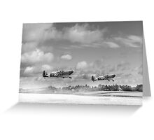 Winter ops: Spitfires, black and white version Greeting Card