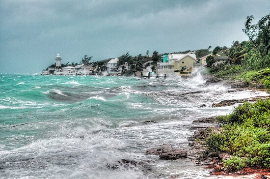 Hurricane Sandy playing around on Eastern Road in Nassau, The Bahamas by 242Digital