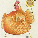 Sunflower Hen by busymockingbird