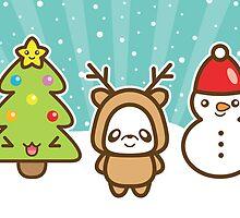 Cute Christmas Panda Reindeer, Christmas Tree And A Snowman by destei