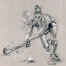 Lady Hockey player - pastel and conte by Paulette Farrell
