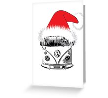 VW Camper Christmas hat Greeting Card