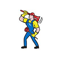 Plumber Carrying Wrench Plunger Cartoon by patrimonio