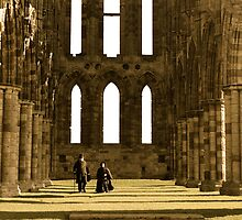 Looking back in time - Whitby Abbey by Pickers