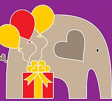 Happy Birthday Elephant (Purple) by Elephant Love