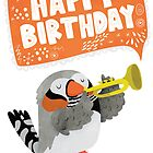 Happy Birthday Zebra Finch Playing A Trumpet by Claire Stamper
