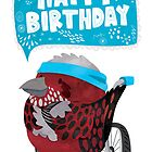 Pallas Rose Finch With A Bike - Happy Birthday by Claire Stamper