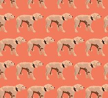 Peach Golden Retriever Pattern by pupsofnyc