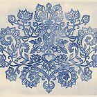 Indigo Blue Denim Ink Doodle by micklyn