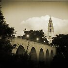 Tower in Balboa Park and Ketner Bridge, San Diego CA by Frederick  Olmsted