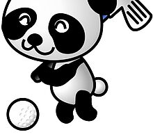 Golfing Panda Cartoon by kwg2200
