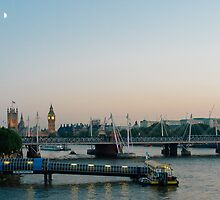 London Skyline at Twilight - London Eye - Parliament - River Thames by Randall Murrow