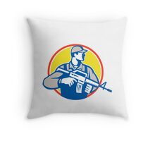 Soldier Military Serviceman Assault Rifle Side Retro Throw Pillow
