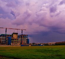 Construction Site under a cloudy, purple sky by Fike2308