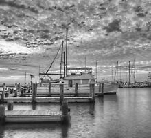 Texas Coast Images - Boats of Rockport, Texas 11 in black and white by RobGreebonPhoto
