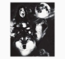 Ultimate Warrior with Wolves black white by samohtbackwards