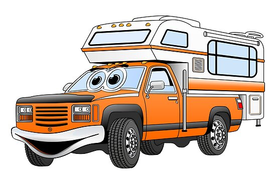 Orange Cartoon Pick Up Camper by Graphxpro