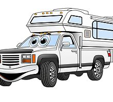 White Cartoon Pick Up Camper by Graphxpro