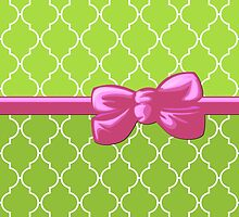 Ribbon and Bow, Moroccan Trellis Pink White Green by sitnica