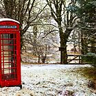 Old Red Phone Box in the Snow by derekbeattie