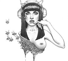 "Black and White Illustration Print ""Melissae"" by LeahSandberg"