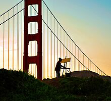 Artist painting the Golden Gate Bridge by Kathleen Murtagh