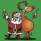 Santa Claus and his Reindeer by cardvibes