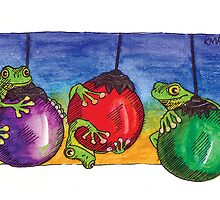 kmay xmas frogs on baubles by Katherine May