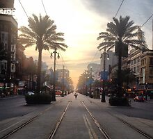 Sunset Walk Along New Orleans by Louis Perzia