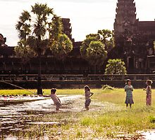 Work or Play?: Children Fishing at Angkor Wat, Cambodia by thewaxmuseum