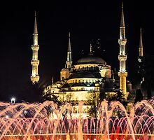 Illuminated: Blue Mosque at Night in Istanbul, Turkey  by thewaxmuseum