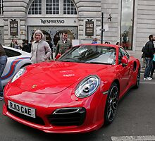 Red Porsche 3800cc convertible Regent St Motor Show by Keith Larby