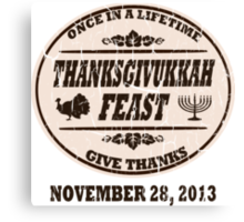 Vintage Once in a Lifetime Thanksgivukkah Canvas Print